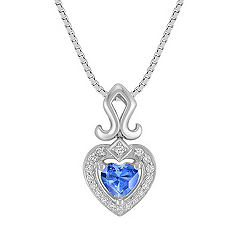Heart-Shaped Kentucky Blue Sapphire and Round Diamond Pendant in Sterling Silver (18 in.)