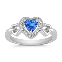 Heart-Shaped Kentucky Blue Sapphire and Diamond Ring in Sterling Silver