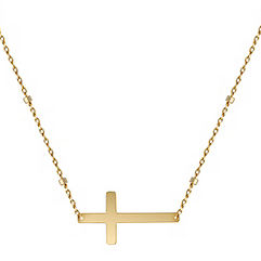 Sideways Cross Necklace in 14k Yellow Gold (18 in.)