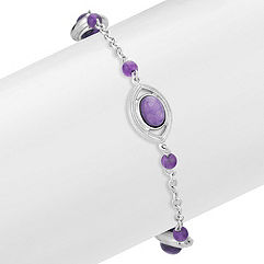 Charoite and Amethyst Sterling Silver Bracelet (7.5 in.)