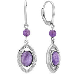 Charoite and Amethyst Dangle Leverback Earrings in Sterling Silver