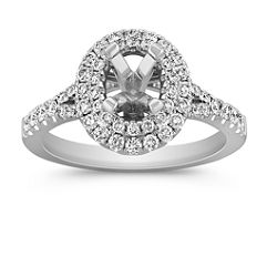 Oval Double Halo Round Diamond Engagment Ring with Pavé Setting