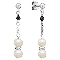 5.5mm Freshwater Pearl and Black Agate Dangle Earrings in Sterling Silver
