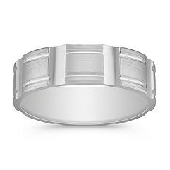 Comfort Fit 14k White Gold Ring with Satin and Polished Finishes (7mm)