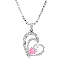Heart-Shaped Pink Sapphire and Round Diamond Sweetheart Pendant in Sterling Silver (18 in.)