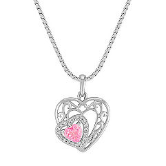 Heart-Shaped Pink Sapphire and Diamond Double Heart Pendant in Sterling Silver (18)