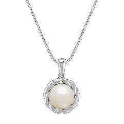 8mm Cultured Freshwater Pearl and Sterling Silver Twist Pendant (18 in.)