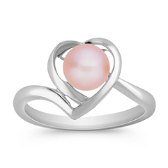 6.5mm Pink Cultured Pearl and Sterling Silver Heart Ring