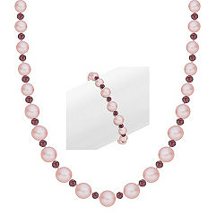 Red Velvet Pink Cultured Freshwater and Garnet Necklace and Bracelet Set in Sterling Silver (24 in.)