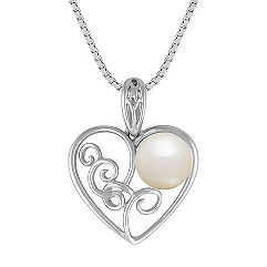 8mm Cultured Freshwater Pearl and Sterling Silver Heart Pendant (18 in.)