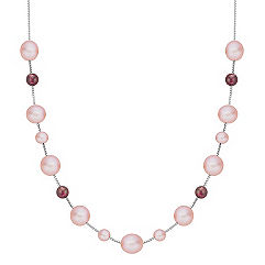 5.5-9mm Pink Cultured Freshwater Pearl and Garnet Red Velvet Necklace (18)