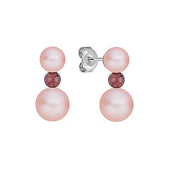 Red Velvet 5.5-8mm Pink Cultured Freswater Pearl and Garnet Sterling Silver Earrings