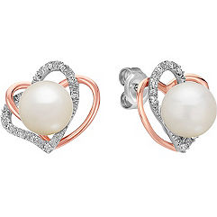 7.5mm Cultured Freshwater Pearl and Diamond Double Heart Earrings in Sterling Silver & 14k Rose Gold