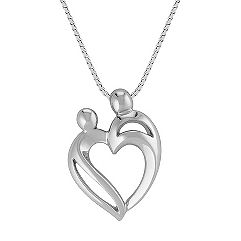 Mother & Child Heart Pendant in Sterling Silver (18 in.)