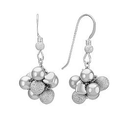 Sterling Silver Cluster Dangle Earrings