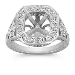 Engraved Halo Vintage Round Diamond Engagement Ring with Pavé Setting