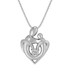 White Sapphire Mother & Child Pendant in Sterling Silver (18)