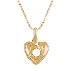 14k Yellow Gold Mother & Child Heart Pendant (18 in.)