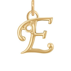 14k Yellow Gold Letter E Charm
