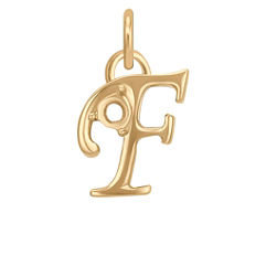 14k Yellow Gold Letter F Charm