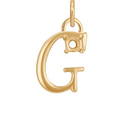 14k Yellow Gold Letter G Charm