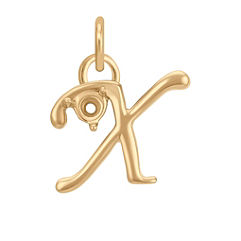14k Yellow Gold Letter X Charm