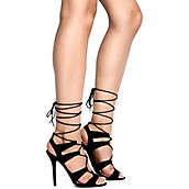 Wild Diva Women's Adele-236 Open Toe Lace Up Heel. PreviousNext