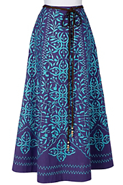 Misses Long Cotton St. Remy A-Line Skirt - Blue