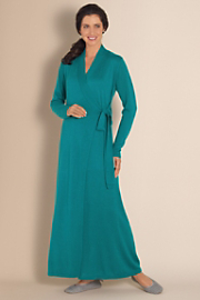 Women's Silk Cashmere Robe - TEAL