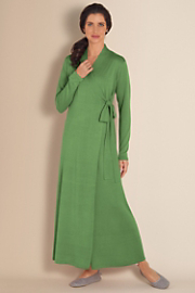Women's Silk Cashmere Robe - GREEN