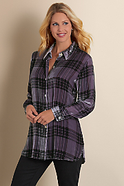 Plaid Velvet Big Shirt - PURPLE HAZE
