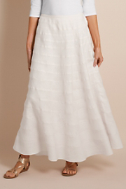 Women's Tall Long Cotton Lined Tiered Linen Arielle Skirt - White