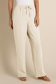 Women's Silk Drawstring Pant - CREAM
