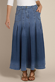 Women's Pleated Denim Skirt I - DENIM