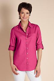 Women's Luxurious Linen Shirt - FUCHSIA