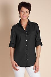Women's Luxurious Linen Shirt - VINTAGE BLACK