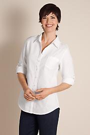 Women's Luxurious Linen Shirt - WHITE