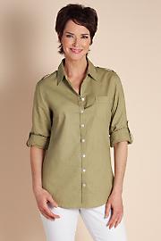 Women's Luxurious Linen Shirt - SPRING SAGE