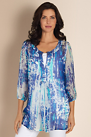 Women's Silk Tides Tunic - BLUE MULTI