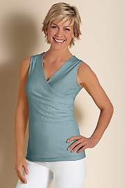 Women's Shapely Surplice Tank - BLUESTONE HTHER