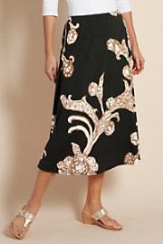 Women's Acanthus Knit Skirt  - BLACK/GOLD