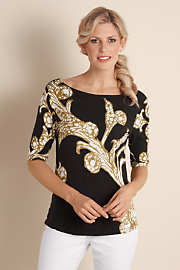 Women's Acanthus Top  - BLACK/GOLD