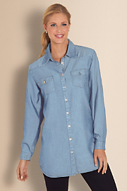 Women's Tencel Denim Shirt I - LIGHT DENIM
