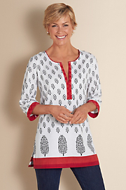 Women's Block Print Tunic - WHITE