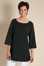 Women's Great Gauze Tunic I - BLACK