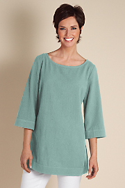 Women's Great Gauze Tunic I - DUSTY AQUA