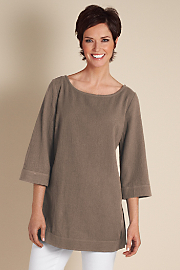 Women's Great Gauze Tunic I - DARK TAUPE