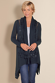 On The Fringe Cozy  - NAVY HEATHER