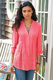 Women's Glam Gauze Shirt - HOT CORAL