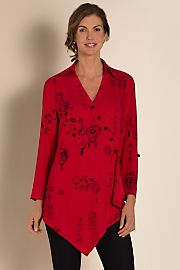 Women's Pagoda Shirt - SHANGHAI RED